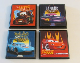 cars room wall plaques set of 4 cars boys room decor cars wall signs - Boys Room Ideas Cars