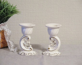 Vintage Small White Porcelain Candle Holders, Home Decor, Shabby Chic @105