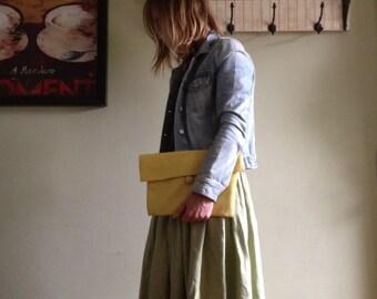 Yellow Linen Button Clutch