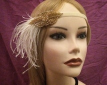 20's style gold beaded flapper headband head piece headpiece hair piece head gatsby inspired 1920s flapper girl ostrich feather ivory (605)