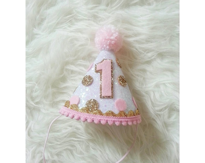 Pink and Gold Polka Dot Party Hat | Glitter Party Hat | Birthday Girl Party | Birthday | First Birthday |  Pink and Gold Theme Party