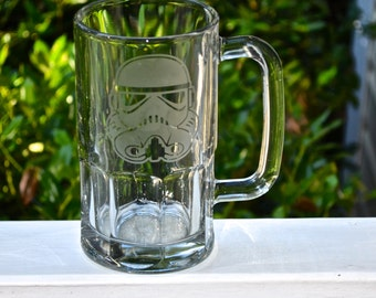 Star Wars Inspired Characters Etched Glasses, Glassware TIE Pilot, Stormtrooper, Darth Maul, Boba Fett