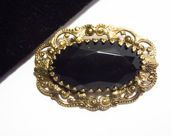 Signed Freirich Vintage Black Glass Brooch Victorian Style