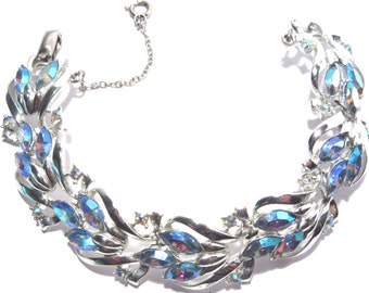 Vintage Coro Blue Rhinestone Bracelet Aurora Borealis 1950s