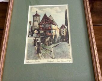 Vintage Ernst Geissendorfer Framed Etching of rottenburg Tauber
