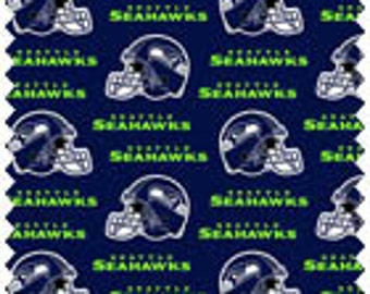 "Seattle Seahawks Cotton Fabric by the yard 60"" wide"