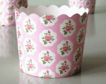 Baby Pink Rose Floral Baking Cups Muffins Cups Treat Cups (20)