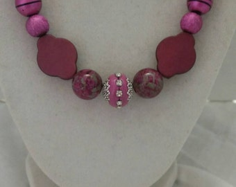 Pink Necklace Pink Statement Necklace Pink One Of A Kind Necklace Pink Handmade Necklace Bridesmaid Necklace Wedding Necklace Bright Pink