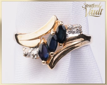 Vintage Sapphire & Diamond Ring ~ 10K Yellow Gold ~ 0.60 ctw Genuine Marquise Sapphires ~ Single Cut Diamonds ~ STR17216 ~ GIA ~ 1000.00