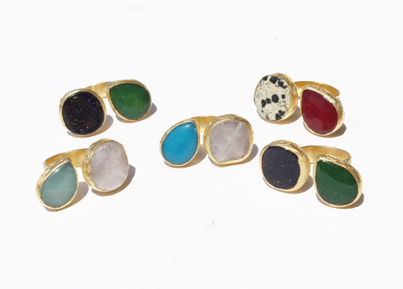 5 wholesale adjustable rings jade gem model drop