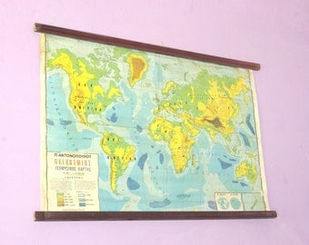World Atlas Map, Geography School Map, Canvas Chart, Pull Down Chart, Large School Map, World Chart, Classroom Chart, Atlas Tapestry
