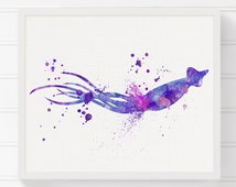 Squid Art Print, Nautical Home Decor, Beach Art Print, Nursery Art Print, Watercolor Squid, Squid Painting, Squid Wall Art, Sealife, Marine