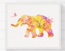 Elephant Art Print, Elephant Poster, Elephant Wall Decor, Elephant Wall Art, Watercolor