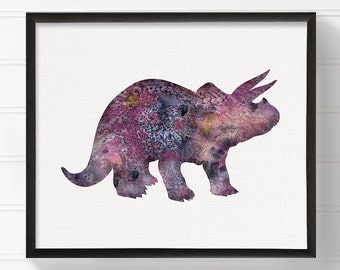 Triceratops, Watercolor Dinosaur, Dinosaur Art, Nursery Wall Decor, Kids Room Decor, Dinosaur Print, Dinosaur Painting, Baby Boy Nursery