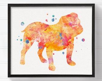 Watercolor English Bulldog, English Bulldog Art, English Bulldog Print, English Bulldog Painting, Watercolor Dog, Dog Wall Art