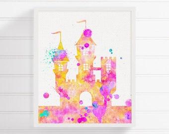 Castle Art Print, Watercolor Castle, Fairytale Nursery, Castle Poster, Baby Girl Nursery, Girls Room Decor, Castle Painting, Custom Color