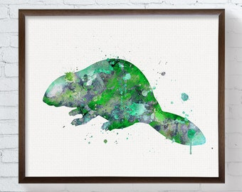 Beaver Art Print, Watercolor Beaver Painting, Green Beaver, Kids Room Decor, Nursery Wall Decor, Baby Boy Nursery, Watercolor Animal Nursery