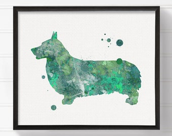 Green Corgi Art Print, Corgi Painting, Corgi Poster, Watercolor Corgi, Purple Corgi, Watercolor Dog Painting, Dog Poster, Dog Illustration