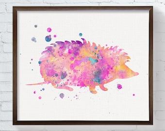 Watercolor Hedgehog, Hedgehog Print, Hedgehog Painting, Hedgehog Poster, Hedgehog Wall Decor, Hedgehog Art, Woodland Nursery Art, Nursery