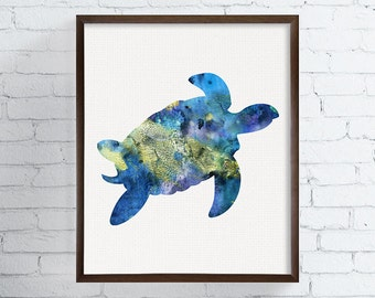 Sea Turtle Art Print, Sea Turtle Watercolor Painting, Sea Turtle Poster, Coastal Wall Art, Bathroom Decor, Beach Art Print, Sea Life Art