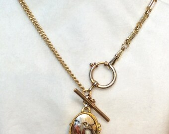 Antique Watch Chain Necklace with FOBS