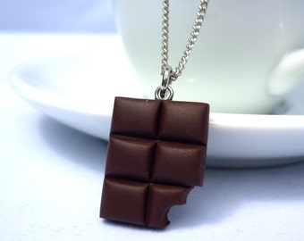 Chocolate bar necklace charm kawaii miniature food