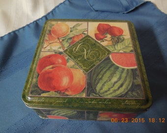 Beautiful green and red fruit tin.