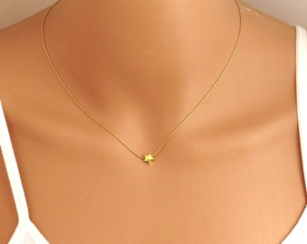 Tiny star necklace , star necklace , delicate star necklace , dainty gold star necklace , bat mitzva gift , gold filled star necklace