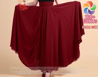 Orange Maxi Skirt Tomato Chiffon Maxi Skirt with Ruched