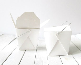 50 - 1 Pint (16 oz.) White Chinese Take Out Boxes (With or Without Wires Handles) - Great for Baby Shower, Wedding and Candy Favors