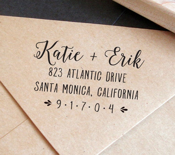 Custom Address Stamp With Calligraphy Save The Date Envelope