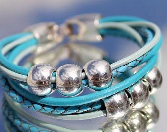 multirow, braided, leather Bracelet, autumn, hippie