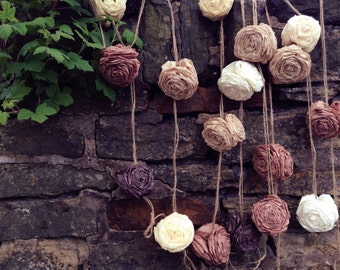 Rustic Wedding Rose Garland Bunting Roses Backdrop Decor Decorations Woodland Brown Vintage