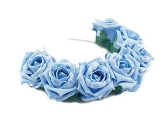 Blue Rose Flower Crown, Blue Rose Headband, Blue Flower Crown, Flower Crown, Rose Crown, Flower headband, Festival Crown, Boho Headband