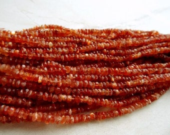 5 mm AAA+ Exceptional Quality Natural Sunstone Faceted Rondelle Full 13 inch strand,Best Price AAA +Quality