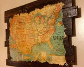 Wood Map, Antique US Map on Reclaimed Wood, Antique Map, US Map