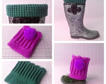 Crochet Pattern * Scallop Boot Cuffs & Leg Warmers * Instant Download Pattern #453 * baby, toddler, child, teen, adult sizes * easy * pompom