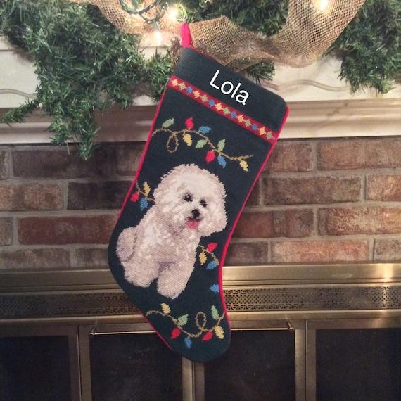 Bichon dog stocking personalized christmas stocking for Personalized dog christmas stocking