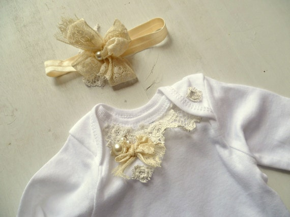Vintage chic baby onesie outfit french baby by provencalmarket - Shabby chic outfit ideas ...