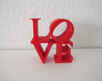3D Printed Home Decor LOVE MINI Block Sculpture Pop Art Iconography Kitsch Poems Iconic Image Letters Alphabet 3-D Print Geekery