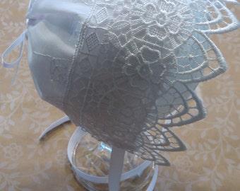 Beautiful Cotton Eyelet Trimmed Bonnet