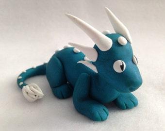 Teal & White Dragon Sculpture