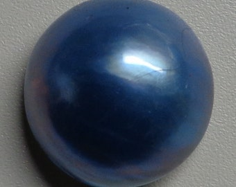 Sea Blue Mabe Pearl Cabochon - 15mm to 16mm round  backed with Mother of Pearl - High Grade