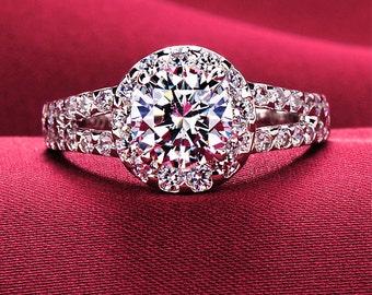 1 carat engagement ring, man made diamond ring, Wedding ring, Simulated diamond, Vintage Style engagement ring