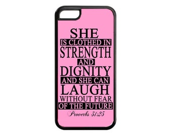 Bible Verse Proverbs 31:25 Quote Case Cover for iPhone 4s 5 5s 5c 6 6s 6 Plus Black  iPod Touch case