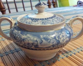 Royal Crown Stafford Vintage Blue Davenport Sugar Bowl - Coffee - Tea - Serving Dish - Wedding - Bridal Shower - Housewarming-Vintage Gift