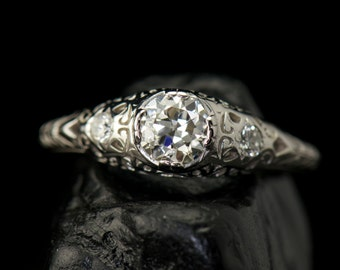 Kelsey - Old European Cut Diamond Engagement Ring in White Gold, Intricate Filigree and Accent Diamonds, Art Nouveau Style, Free Shipping