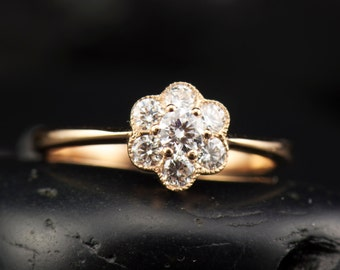 Malia - Diamond Engagement Ring in 18k Rose Gold, Round Brilliant Cut, Flower Design with Beaded Milgrain, Unique Style, Free Shipping