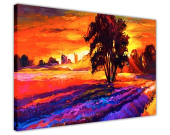 Sunset Over Tree Colourful Oil Painting Reprint Framed Canvas Wall Art Home Decoration Prints Room Deco Poster Pictures Ready To Hang Gift