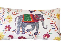 John Robshaw for Duralee Elephant Mahout Fabric for Decorative Pillow Covers Handmade by Pillow Time Girls - Throw Pillow - Solid Back